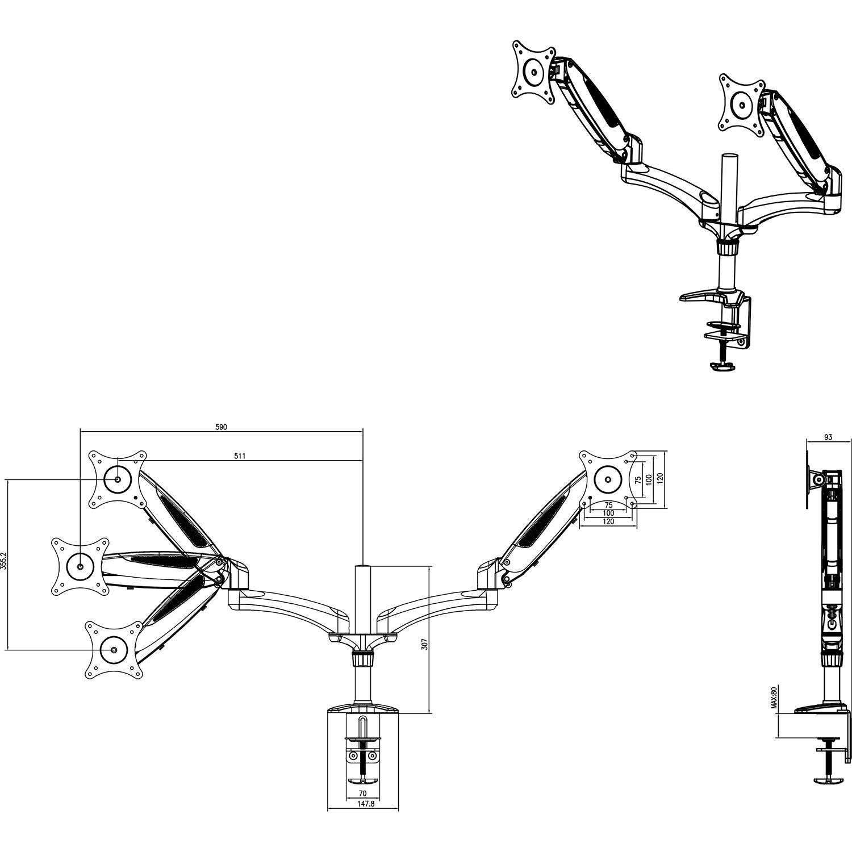 v7 staffa da tavolo doppia molla 2 bracci display fino