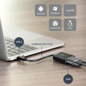 StarTech.com Adattatore USB-C a VGA - Convertitore Video USB 3.1 type-C a VGA - 1080p - Nero - Estremità 1: 1 x HD-15 Femm