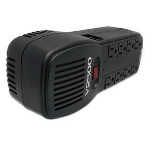Regulador VICA V2500 Capacidad de voltaje 2500 VA/ 1500 Watts. 12.5A Máximo. 8 tomas de corriente, protector de línea RJ11