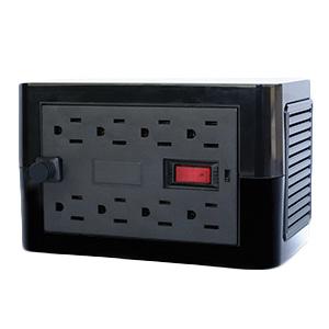 Regulador VICA On- Guard. Capacidad de Voltaje 1500 VA / 800 Watts. 6 A máximo. 8 tomas de corriente tipo NEMA 5-15R regul