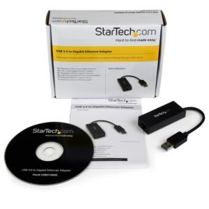 Adaptador Tarjeta de Red Externa NIC USB 3.0 a 1 Puerto Gigabit Ethernet 1Gbps RJ45 USBA Negro StarTech.com USB31000S