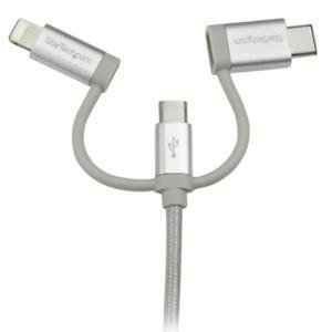 Cable Trenzado de 1m USB a Lightning USB-C y Micro USB - Cable Cargador para Teléfono Celular iPhone iPad Tablet  StarTech