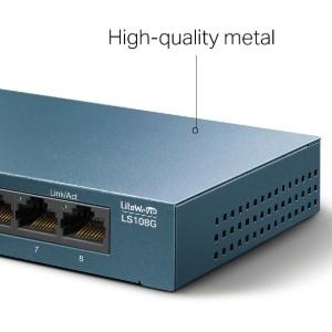 Conmutador Ethernet TP-Link LiteWave LS108G 8 - 2 Capa compatible - Par trenzado - De Escritorio, Montaje en pared