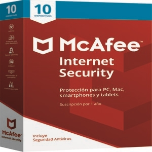 Mcafee Internet Security, 1 año, Para 10 dispositivos