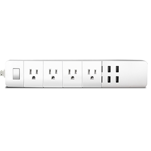 Barra Multicontacto Wi-Fi TechZone: 4 enchufes con control independiente, 4 puertos USB uno de ellos con carga rapida de 2