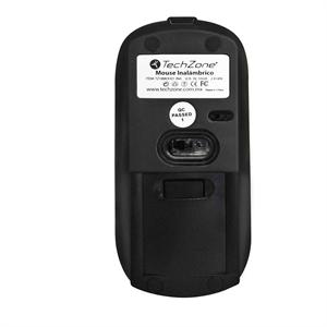 Mouse óptico negro, inalámbrico, USB, recargable TechZone / 1600 DPI, alcance 10m, / Ideal para Home school y Home Office