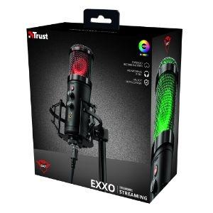 Micrófono Trust Gaming Exxo 256 - Cableado - Condensador - 1.80m - 30Hz a 18MHz -36dB - Cardioid - De Escritorio, Montura