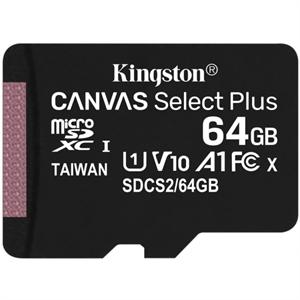 microSDXC Kingston Canvas Select Plus - 64GB - Class 10/UHS-I (U1) - 1 Paquete(s) - 100MB/s Leer