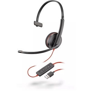 Poly Blackwire 3210 Wired Over-the-head Mono Headset - Monaural - Supra-aural - 20 Hz to 20 kHz - Noise Reduction, Noise C