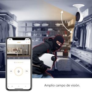 CUE 2 - Cámara WIFI IP interior 2Mpx - Lente fija 2,8mm 112° - Detección de personas IA - Sirena embebida - Alarma por rui