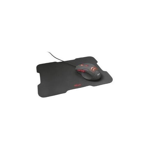 Mouse Trust Ziva - USB - Óptico - 6 Botón(es) - Negro, Rojo - Cable - 3000 dpi - Rueda de desplazamiento - Sólo para diestros