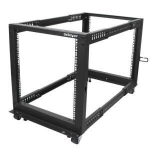 "12U Open Frame Server Rack - 4 Post Adjustable Depth (22"" to 40"") Network Equipment Rack w/ Casters/ Levelers/ Cable Manag"