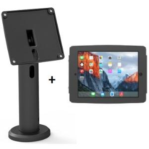 COMPULOCKS SECURE SPACE ENCLOSURE WITH RISE 20CM POLE MOUNT FOR IPAD 2/3/4/AIR/AIR2/5TH GEN/PRO 9.7IN - BLACK