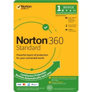 NortonLifeLock 360 Standard, 10GB, 1 User, 1 Device, 12 Months, PC, MAC, Android, iOS, DVD, VPN, Parental Controls,