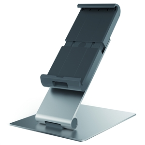 "KENSINGTON DURABLE UNIVERSAL TABLET HOLDER WITH DESK STAND, FOR UP TO 13"" TABLETS - SILVER"