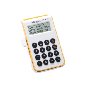 Reiner SCT cyberJack one. Product colour: White, Yellow, Display type: LCD. Operating voltage: 5 V. Width: 68 mm, Height: